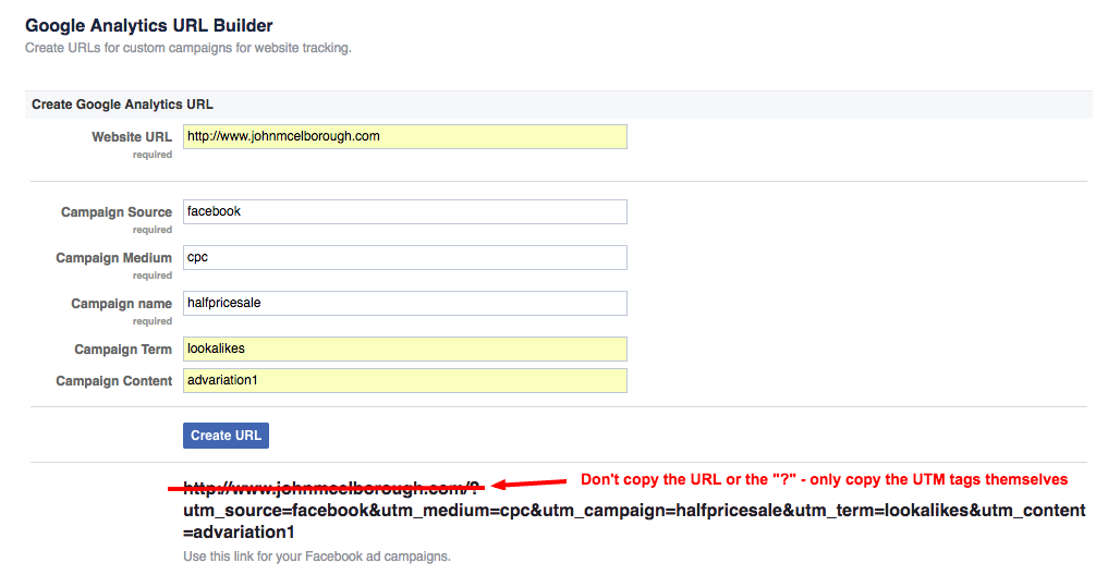 Facebook ads url parameters